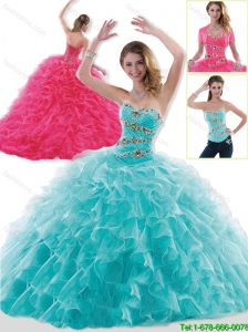Fashionable Brush Train Beading and Ruffles Sweet 16 Dresses