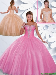 Inexpensive Ball Gown Beading Quinceanera Gowns