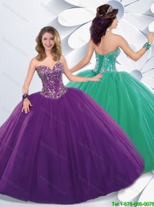 Inexpensive Ball Gown Sweet 16 Dresses with Beading for 2016 Spring