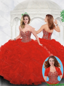 Perfect Red Sweet 16 Gowns with Beading and Ruffles