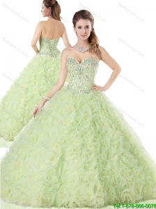 Perfect Yellow Green Quinceanera Dresses with Ruffles