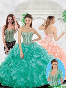 Popular Beading and Ruffles Quinceanera Gowns with Sweetheart