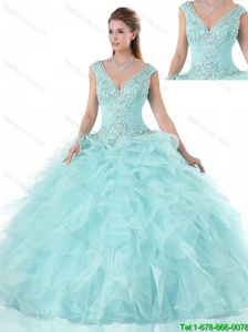 Popular Beading V Neck Quinceanera Gowns with Cap Sleeves