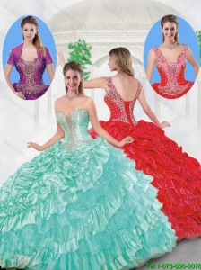 Popular Strapless Beading Sweet 16 Dresses with Ruffled Layers