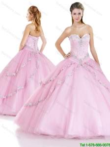 Romantic Beading Sweetheart Quinceanera Gowns with Lace Up