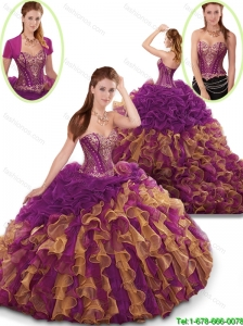 Spring Perfect Ruffles and Beading Sweet 16 Dresses in Multi Color