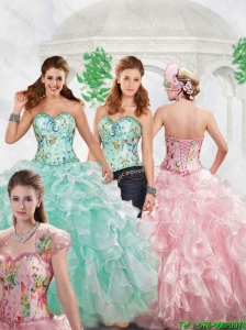 Unique 2016 Spring Beading Apple Green Sweet 16 Dresses with Print