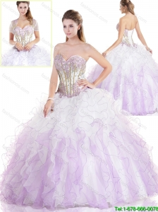 Unique Ruffles and Beading Sweet 16 Gowns in Multi Color