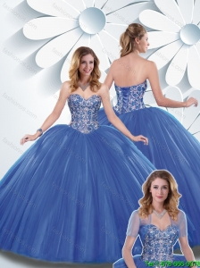 Beautiful Blue Ball Gown Quinceanera Dresses with Beading