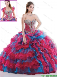 Beautiful Brush Train Beaded Quinceanera Dresses in Multi Color