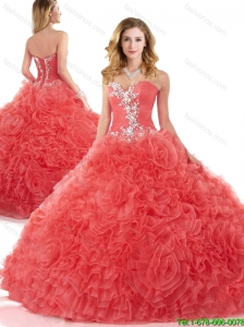 Lovely Sweetheart Beading Quinceanera Dresses in Coral Red