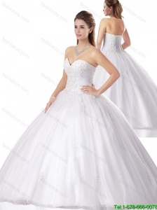 Unique 2016 Spring Beading White Quinceanera Gowns