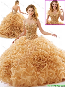 Unique Beading and Ruffles Quinceanera Dresses with Chapel Train