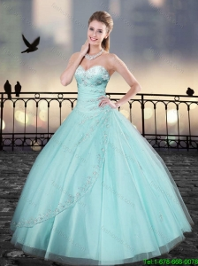 Elegant Aqua Blue Sweetheart Quinceanera Dresses with Beading