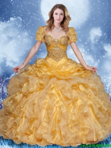 Hot Sale Ball Gown Beading Quinceanera Dresses in Champagne