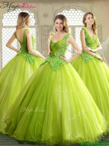 2016 Spring Luxurious Beading and Appliques Quinceanera Dresses in Yellow Green
