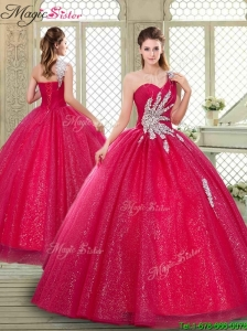 Beautiful One Shoulder Quinceanera Gowns with Beading
