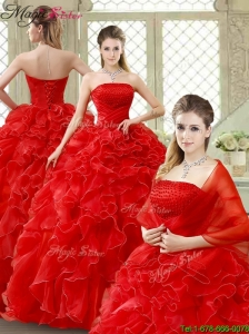 Classical Red Quinceanera Gowns with Beading and Ruffles