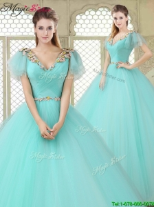 Exquisite V Neck Mint Quinceanera Dresses with Appliques