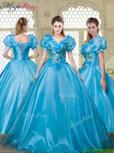 Gorgeous Appliques and Beading Quinceanera Dresses with V Neck