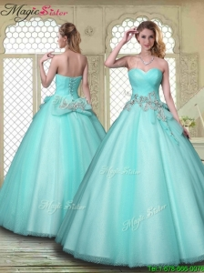 2016 Spring New Style Beading Sweetheart Quinceanera Dresses in Aqua Blue
