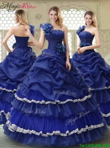 Elegant 2016 Spring Ruffled Layers One Shoulder Quinceanera Dresses
