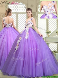 Popular Beading and Appliques Quinceanera Gowns with One Shoulder