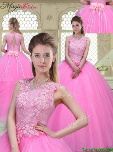 Popular Scoop Hand Made Flowers Quinceanera Dresses with Brush Train