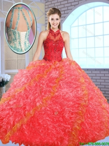 Cheap Appliques and Ruffles Quinceanera Gowns with High Neck