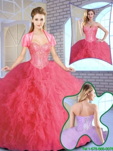 Elegant Ruffles and Sequins Quinceanera Gowns in Coral Red