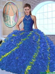 Perfect High Neck Appliques Sweet 16 Dresses in Multi Color