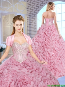 2016 Luxurious Beading Brush Train Quinceanera Gowns with Rolling Flowers