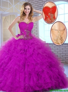 2016 New Style Ball Gown Sweetheart Quinceanera Dresses in Fuchsia