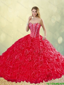 2016 New Style Brush Train Rolling Flowers Quinceanera Dresses in Red