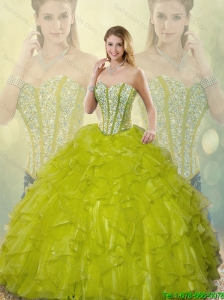 Beautiful Beading and Ruffles Sweetheart Detachable Quinceanera Gowns