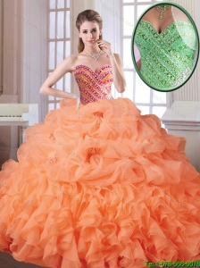 Best Selling Orange Red Sweet 16 Dresses with Beading