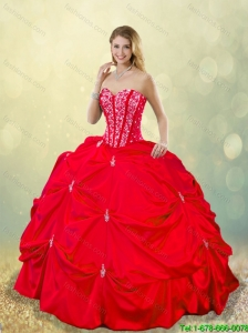 Cheap 2016 Beading and Pick Ups Quinceanera Gowns in Red