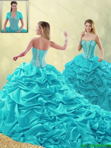 Cheap Beading and Pick Ups Quinceanera Gowns with Court Train