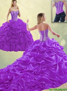 Classical Sweetheart Beading Detachable Quinceanera Dresses with Pick Ups