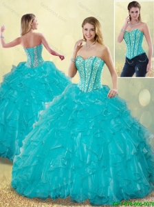 Elegant Aqua Blue Detachable Quinceanera Dresses with Beading and Ruffles
