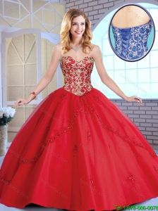 Exclusive Red Sweetheart Quinceanera Dresses with Beading and Appliques