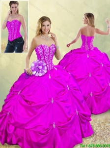 Fashionable Sweetheart Beading Detachable Quinceanera Dresses in Fuchsia