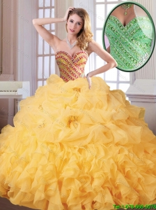 Hot Sale Winter Beading and Ruffles Quinceanera Dresses in Gold