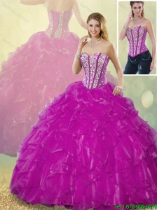 Latest Ball Gown Fuchsia Quinceanera Dresses with Beading