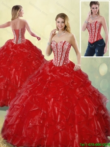 Luxurious Sweetheart Quinceanera Gowns in Wine Red for 2016
