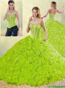 Modest Rolling Flowers Detachable Detachable Quinceanera Gowns with Sweetheart