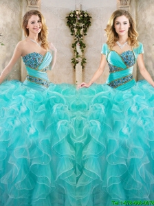 New Arrivals Beading Aqua Blue Quinceanera Gowns with Sweetheart