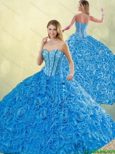 New Style Blue Quinceanera Dresses with Brush Train for 2016