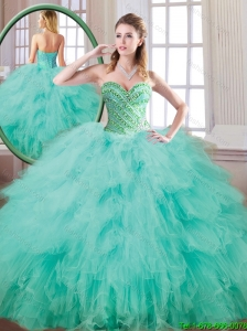 New Style Sweetheart Beading and Ruffles Quinceanera Gowns for 2016