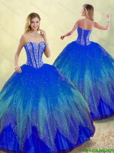 Popular 2016 Spring Sweetheart Detachable Quinceanera Gowns with Beading